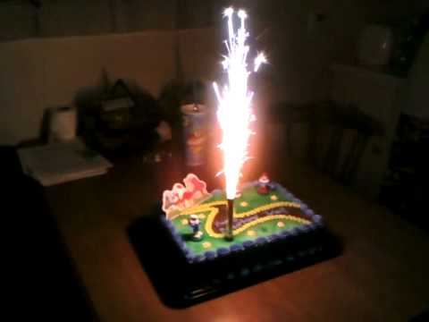 Smurf Cake Firework Candle 11th B Day