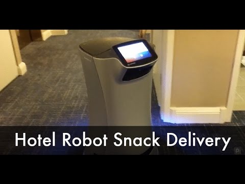 Hotel Room Service Robot Delivering Snack
