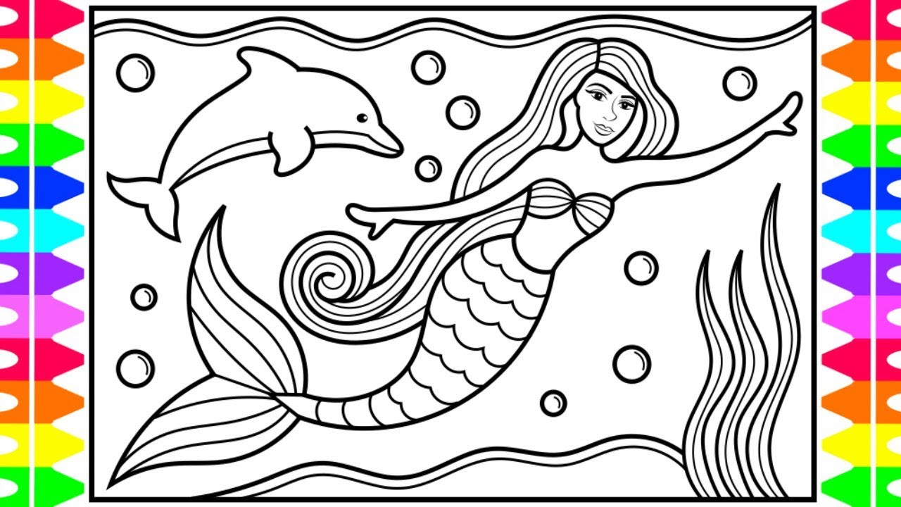 How to Draw a Mermaid Princess for Kids 💜💚💖🐬Mermaid Princess Drawing and Coloring Pages for Kids #1