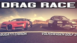 1200HP VOLKSWAGEN GOLF 3 VR6 VS BUGATTI CHIRON DRAG RACE | ASSETTO CORSA