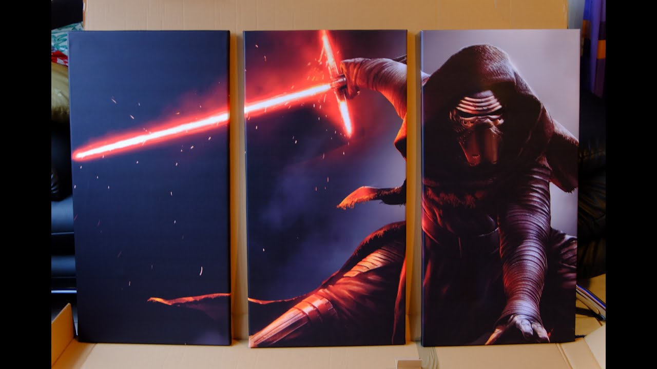 star wars leinwand kylo ren 3 teilig 120x80cm review nerdy testing youtube. Black Bedroom Furniture Sets. Home Design Ideas