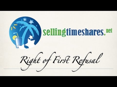 Right of First Refusal for Timeshare Resale