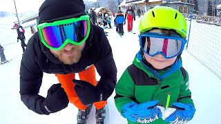 My Winter Super Fun day with daddy | Timko learns to ski