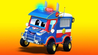 Truck videos for kids -  WOMEN'S DAY : the POLICE TRUCK and COOKIE THIEF - Super Truck in Car City !