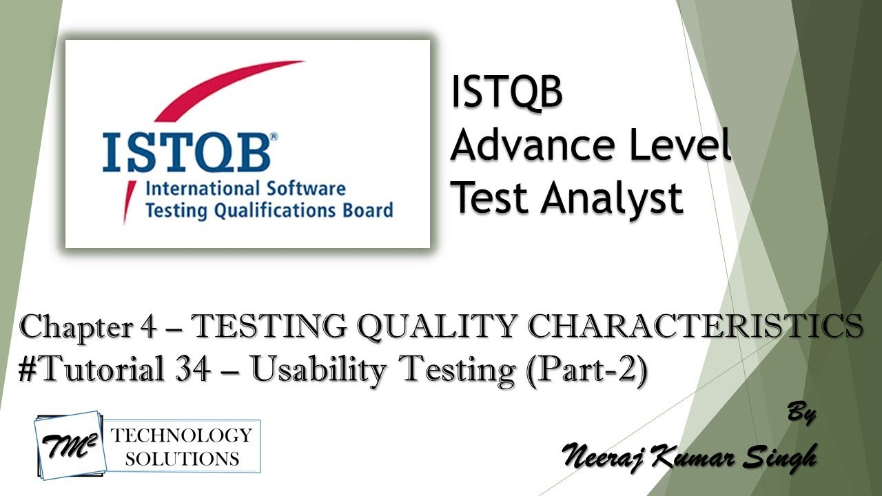 Istqb Advance Test Analyst 4 2 5 Usability Testing Part 2 Youtube