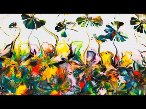 Best Ever~Magical mystery pour~Tropical Garden~Blow n Kissed fantasy and whimsical effects - Gilly Kube acrylic pouring art Creations