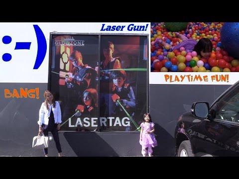 Fun Family Playtime: Indoor Laser Tag Game w/ Hulyan + Pool of Plastic Balls Swimming Fun