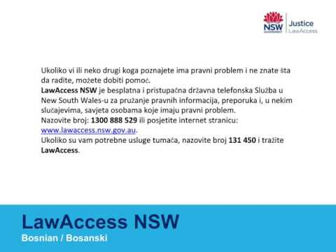 Need Legal Help? information about how to call LawAccess NSW in your language - Bosnian
