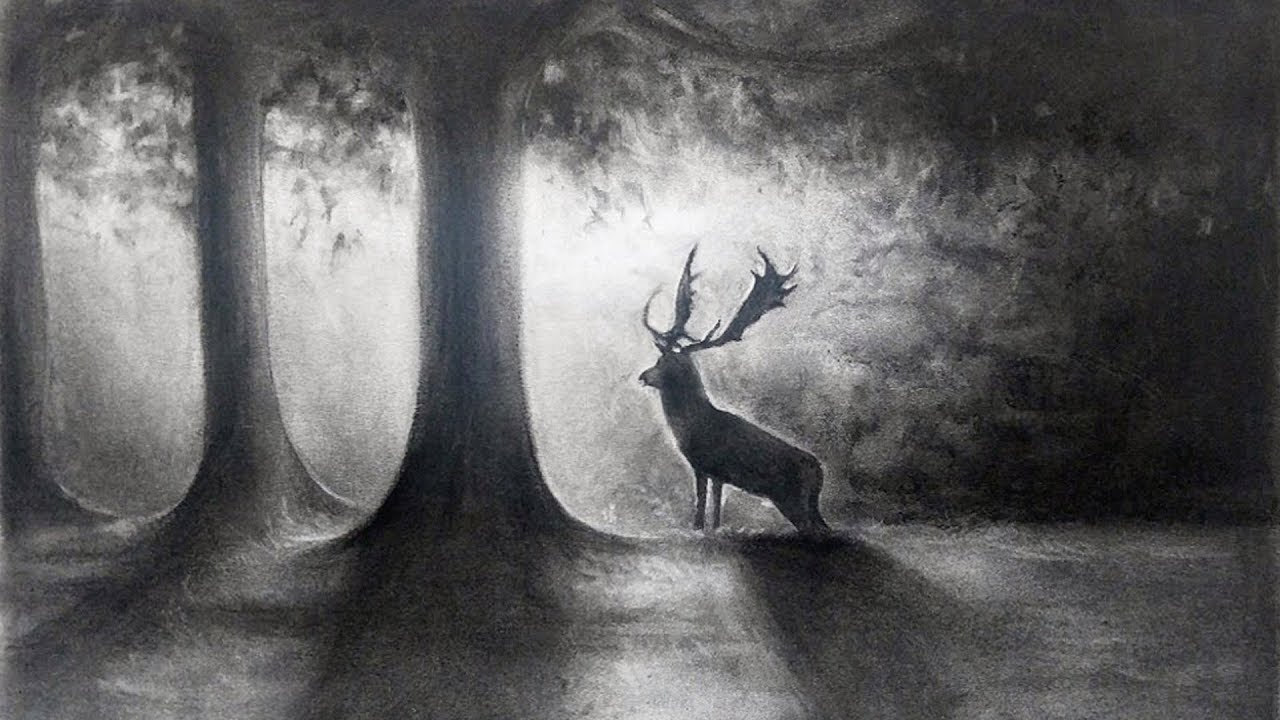 deer in the forest drawing  9 hours into 5 min