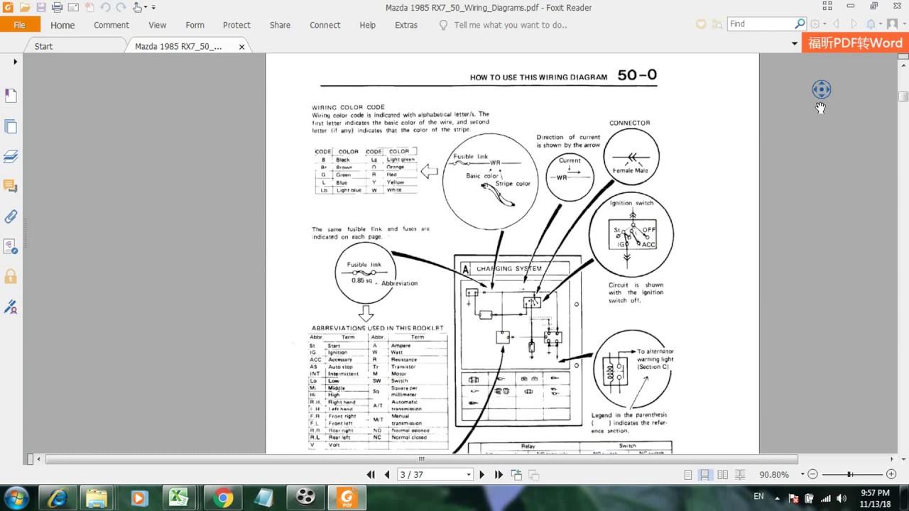 Mazda 1985 RX7 50 Wiring Diagrams - YouTube
