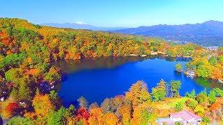 Drone Japan 4k 絶景 ドローン 空撮映像 松原湖「君の名は。」聖地巡礼 新海誠監督の故郷 長野県小海町 秋 紅葉の八ヶ岳 DJI PHANTOM4PRO