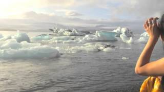 Ice bucket challenge at Jokulsarlon Lagoon in Iceland (Ice breaking action)