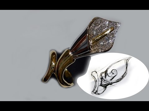 Handmade gold ring whit form flower of calla lily