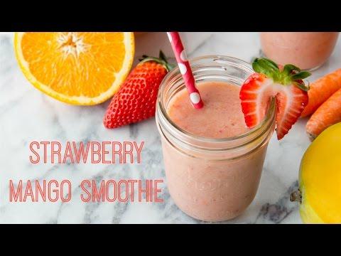 how-to-make-strawberry-mango-smoothie-(recipe)-ストロベリーとマンゴーのスムージーの作り方-(レシピ)