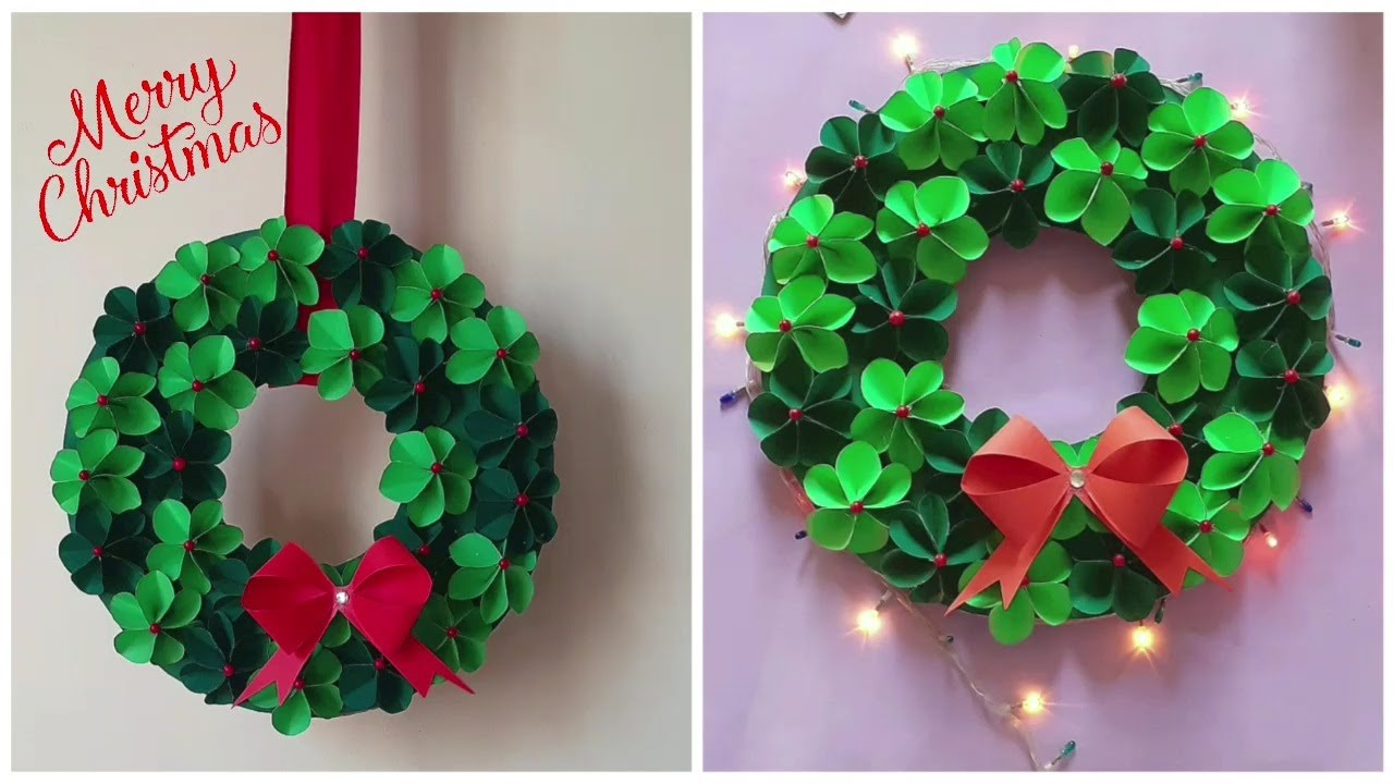 DIY Paper Christmas Wreath   Christmas Crafts   Paper Crafts