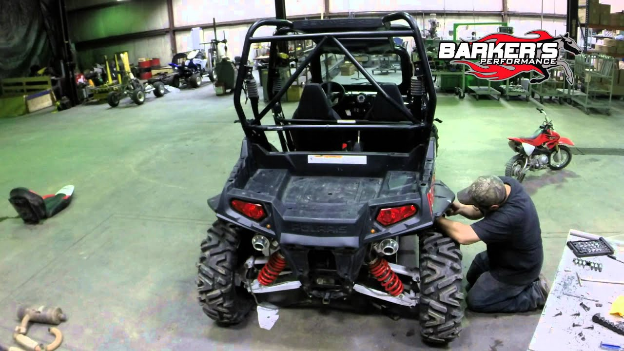 barker s exhaust rzr 800 vs stock installation test runs