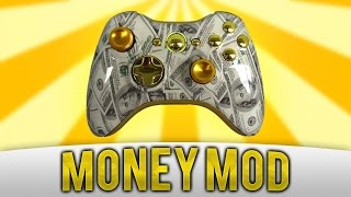 Xbox 360 Modded Controller - Custom Gold Chrome Money Pattern - Gamers Option Custom Controllers