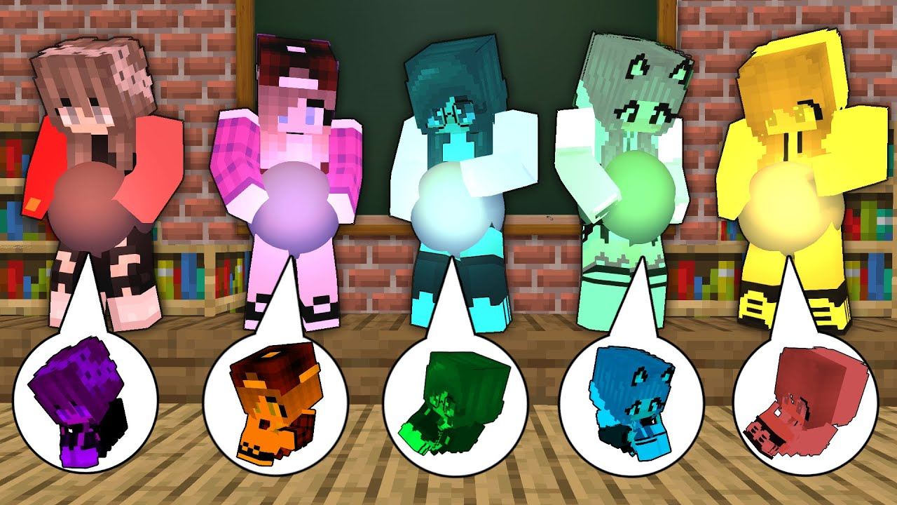 Monster School All color Monsters Girl Baby Birth Born Family Mother Challenge - Minecraft Animation