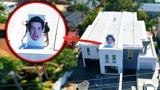 PUTTING MY GIANT FACE ON PARENTS ROOF PRANK