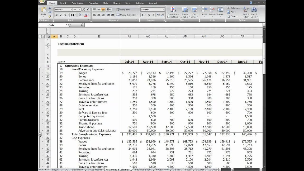 Startup financial model income statement video youtube for Startup financials template