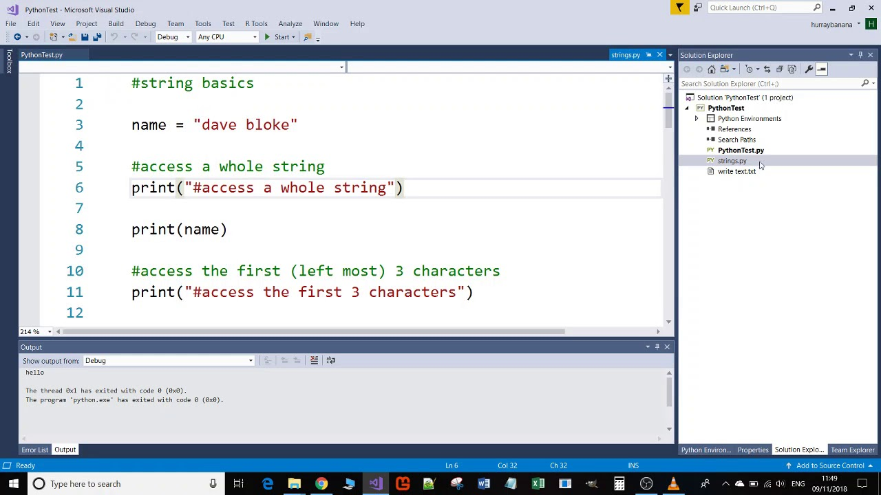 Creating a Python project in Visual Studio 2017