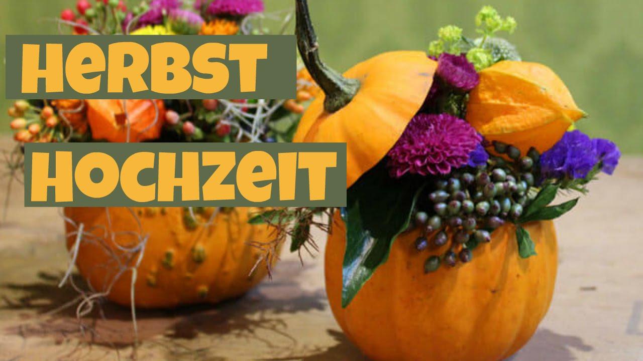 Tischdeko Herbst herbsthochzeit blumendeko diy tischdeko herbst mit kürbissen