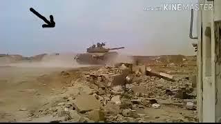رهيب نجاة دبابة في الجيش السوري من صاروخ على لحظة /بحمى الرحمن/