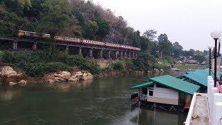 บรรยากาศดีกับธรรมชาติ รถไฟวิ่งผ่าน บ้านริมแคว แพริมน้ำ รีสอร์ท ไทรโยค กาญจนบุรี กับบ่าวสาวไทบ้าน