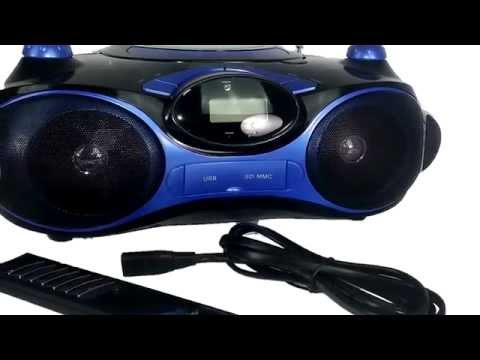 Axess PB270bBL Portable Boombox Blue Color With CD USB SD FM Radio Aux For Mobile Devices
