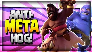 "NEW ""ANTI-META"" HOG!! Undefeated Hog Rider Deck - Legendary Arena 11 - Clash Royale Strategy"