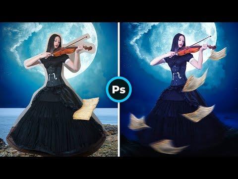 "Уроки #Photoshop ""Девушка со скрипкой"". Идеи для творчества."
