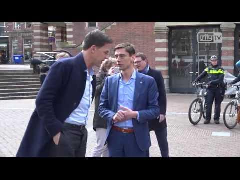 Mark Rutte op campagne in Leiden