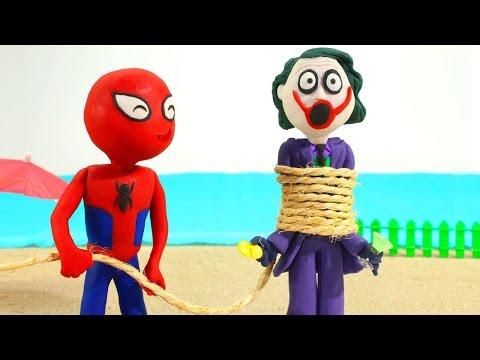 Pink Spidergirl Spiderman VS Joker Superhero Prank Videos Frozen Elsa Stop Motion