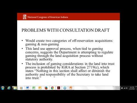 Discussion on Fee to Trust Consultations