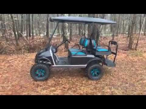 CUSTOMIZED Club Car DS With Spartan Body-Metallic Black With Teal