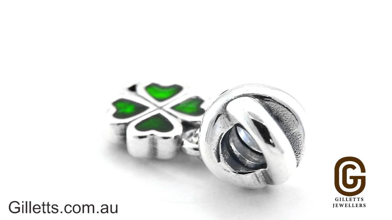 f955d73658b86 Pandora Green Four Leaf Clover Charm - Pandora code 790572EN25