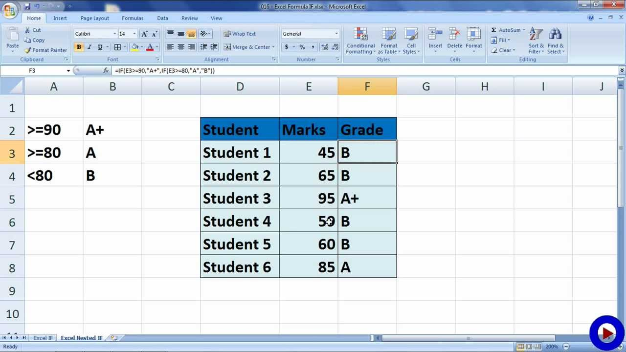 excel formula if and nested if youtube