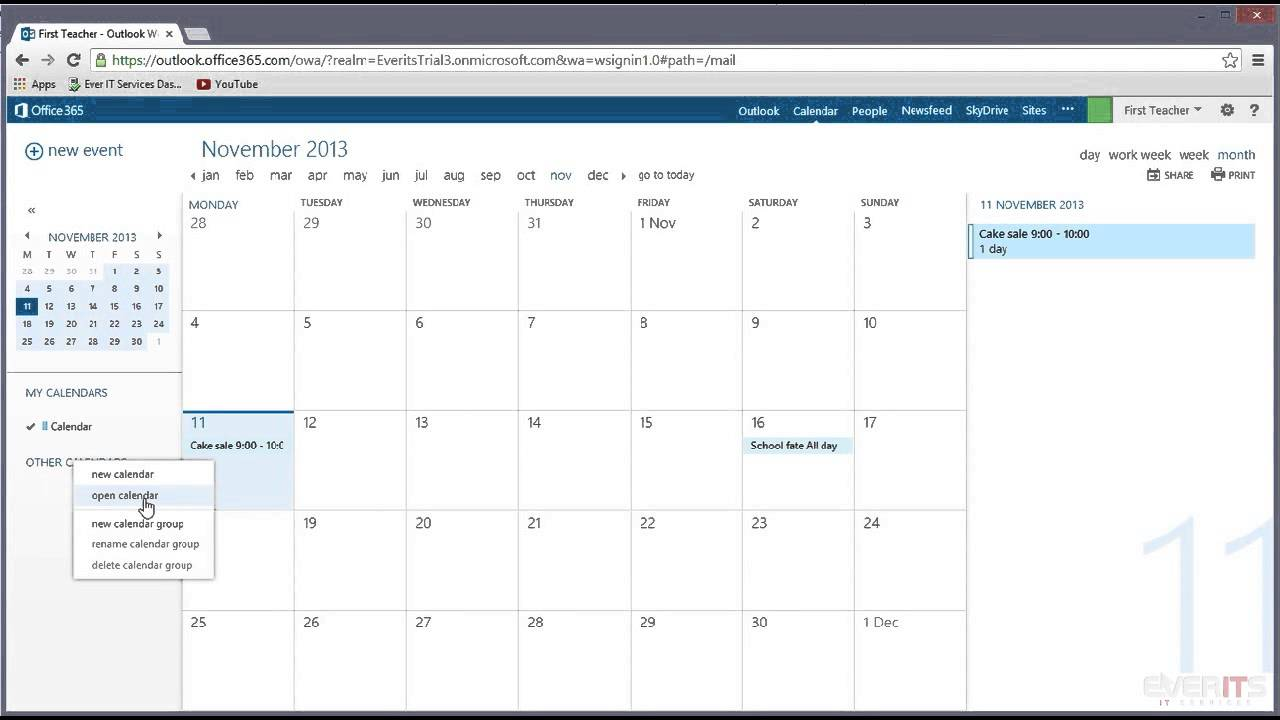 Office Organization Calendar Sharing : Opening a shared calendar in office youtube