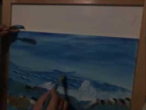 Como pintar cielo mar con olas y rocas artemania por for Como pintar un mural en la pared