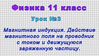 Физика 11 класс (Урок№3 - Магнитная индукция. Действие магнитного поля на проводник с током.)