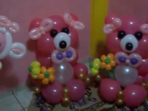 Decoracion con globos flores y ositos youtube for Decoracion con plantas