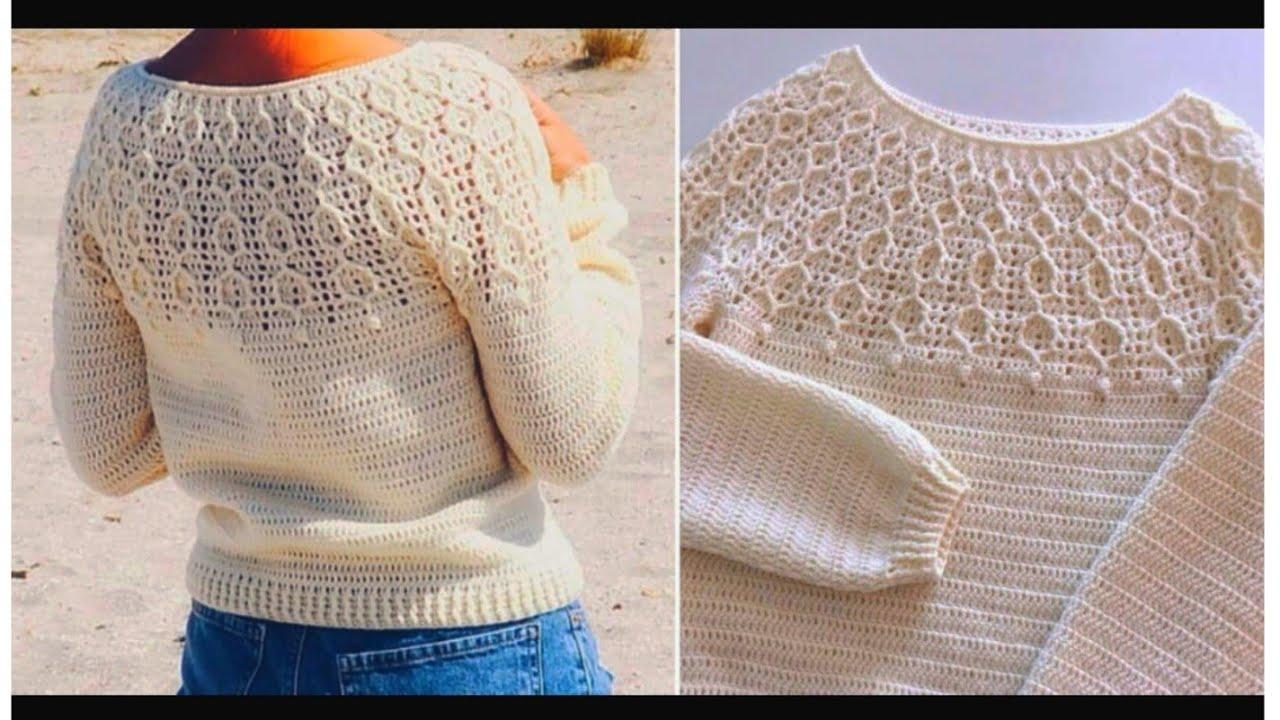 حصري بلوزة نسائي بغرزة خلية النحل How to a crochet blouse with honeycomb stitch  قناة كروشية يوتيوب