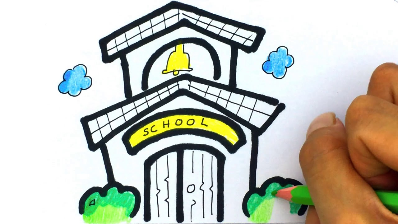 Cara gambar Kartun Gedung Sekolah - Belajar gambar Untuk ...