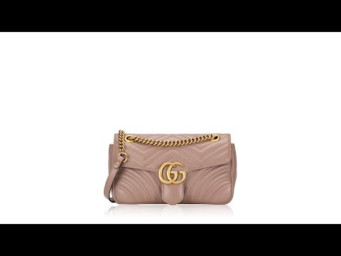 Gucci Matelasse Small GG Marmont Shoulder Bag Nude