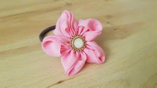 핑크 플라워 슈슈-우아하고 예쁜 슈슈 만들기 / 선물하고 싶은 머리끈 / 리본 만들기