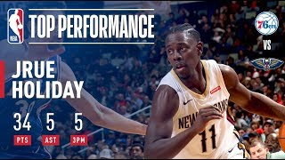 Jrue Holiday Scores 34 Pts in Victory vs. 76ers | December 10, 2017