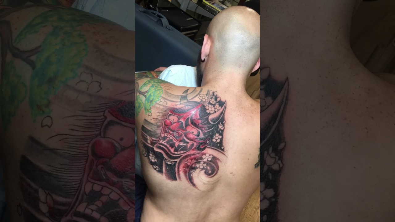 Hannya Mask Girl Tattoo: Darren Rosa Adding Some Red To Hannya Mask Tattoo