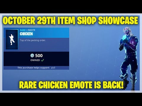 Fortnite Item Shop RARE CHICKEN EMOTE IS BACK! [October 29th, 2018] (Fortnite Battle Royale)
