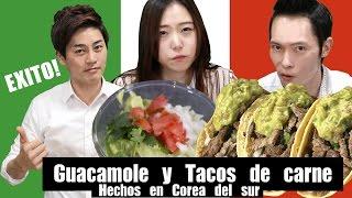 Coreano Tratando de Cocinar Comidas Mexicanas por 1ra vez l Probando Guacamole y Tacos de carne