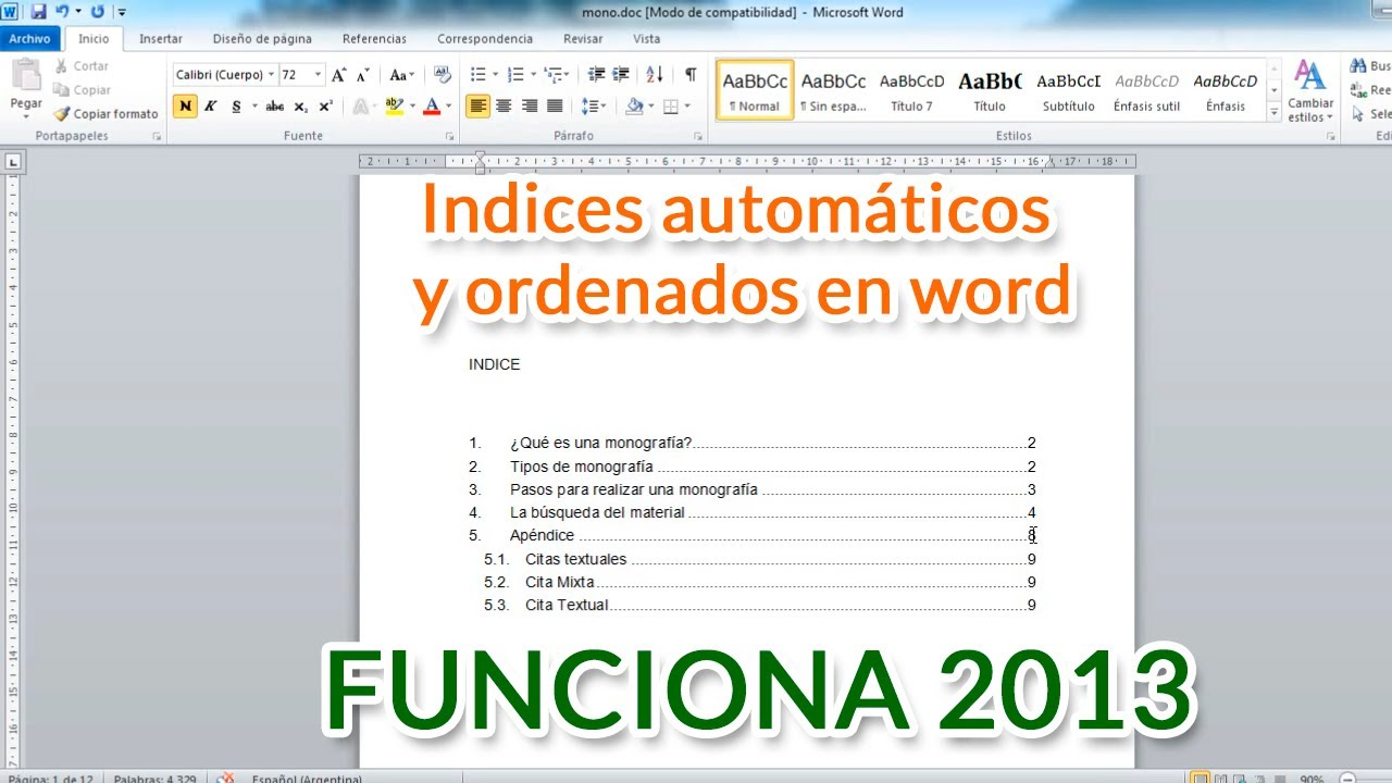 Indices automáticos ordenados en word - funciona 2018 - YouTube